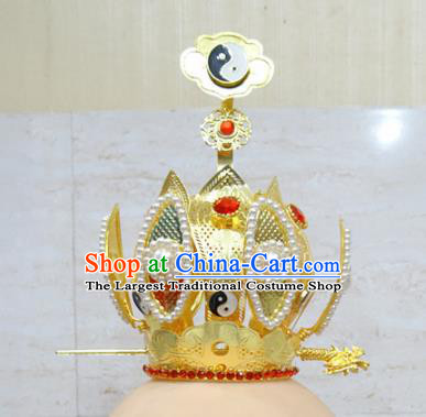 Chinese Traditional Beijing Opera Taoist Priest Lotus Hairdo Crown Ancient Prince Headwear for Adults