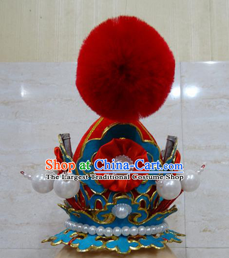 Chinese Traditional Beijing Opera Niche Red Hairdo Crown Ancient Prince Headwear for Adults