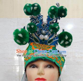 Chinese Traditional Beijing Opera Takefu Hair Accessories Ancient Warrior Green Hat Headwear for Adults