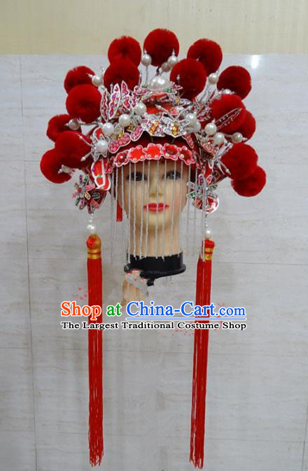 Chinese Traditional Beijing Opera Actress Hair Accessories Ancient Queen Red Phoenix Coronet for Adults