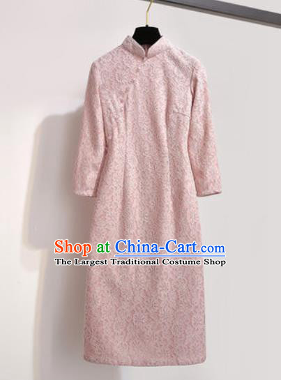 Chinese Traditional Tang Suit Costume Pink Qipao Dress Cheongsam for Women