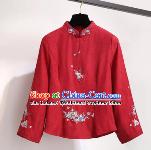 Chinese Traditional Costume Tang Suit Red Qipao Blouse Cheongsam Upper Outer Garment for Women