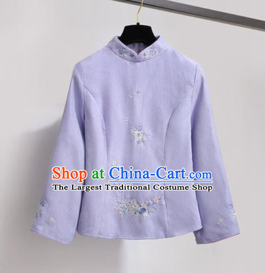 Chinese Traditional Costume Tang Suit Purple Qipao Blouse Cheongsam Upper Outer Garment for Women