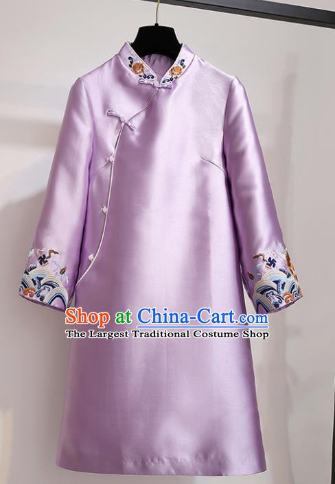 Chinese Traditional Tang Suit Costume Purple Satin Qipao Dress Cheongsam for Women