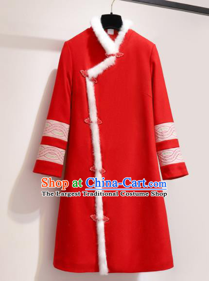 Chinese Traditional Costume Tang Suit Red Wool Coat Cheongsam Upper Outer Garment for Women