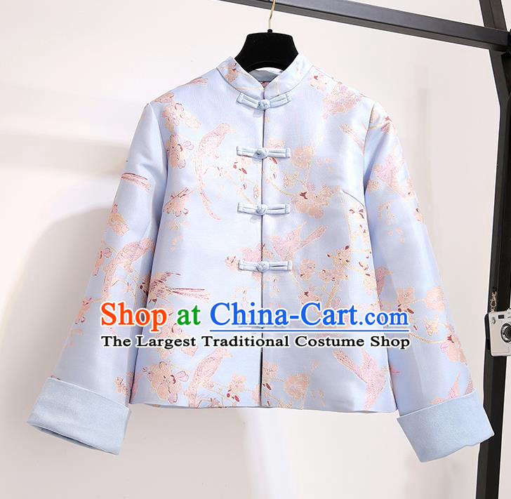 Chinese Traditional Costume Tang Suit Blue Jacket Cheongsam Upper Outer Garment for Women