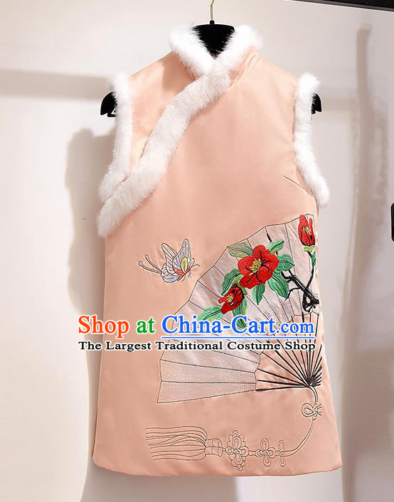 Chinese Traditional Costume Tang Suit Pink Vest Cheongsam Upper Outer Garment for Women