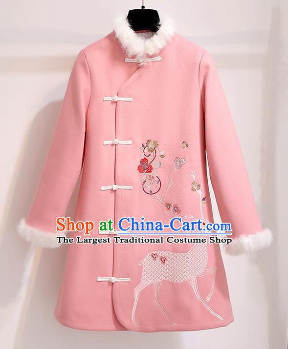 Chinese Traditional Costume Tang Suit Pink Dust Coat Cheongsam Upper Outer Garment for Women