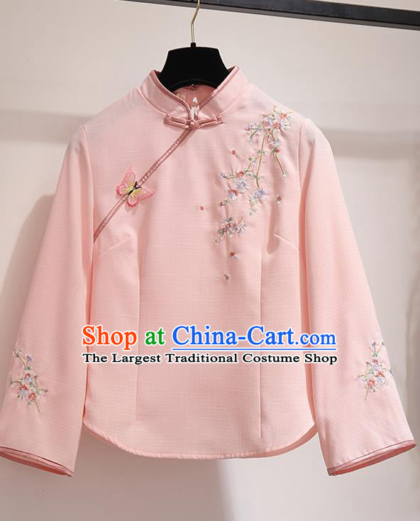 Chinese Traditional Costume Tang Suit Qipao Pink Blouse Cheongsam Upper Outer Garment for Women