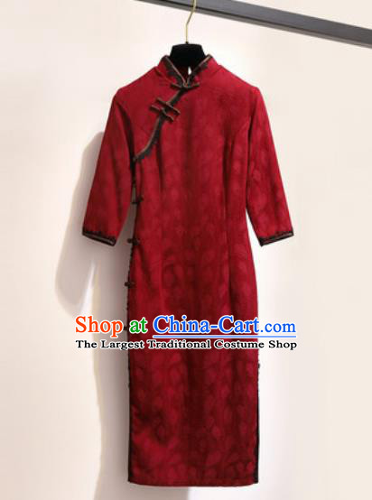 Chinese Traditional Tang Suit Costume Red Qipao Dress Cheongsam for Women