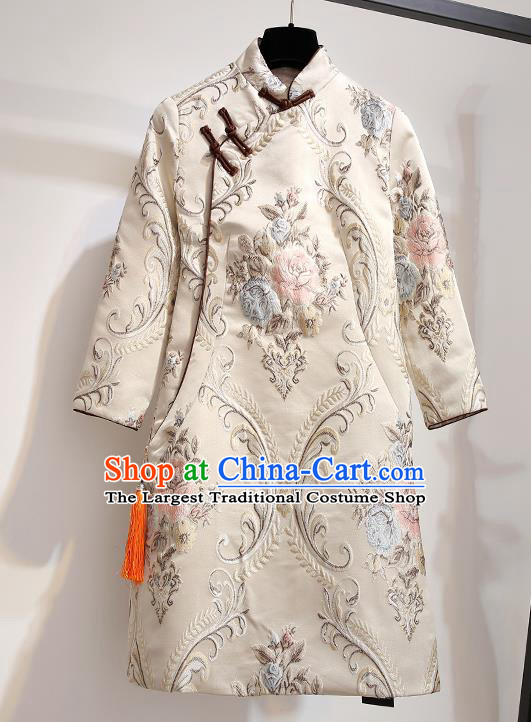Chinese Traditional Costume Tang Suit Qipao Dress Beige Cheongsam for Women