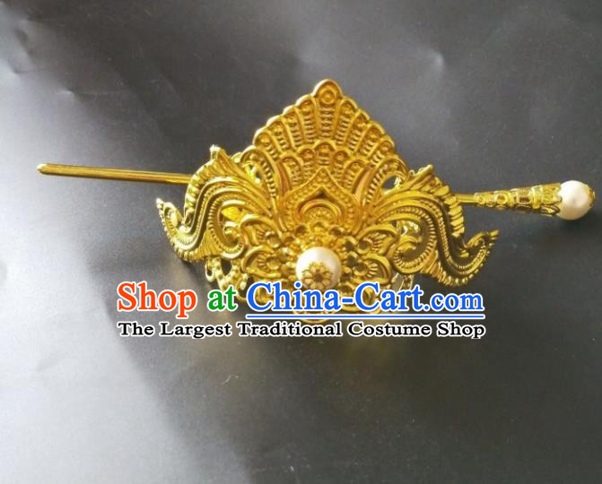 Chinese Traditional Prince Hair Accessories Ancient Swordsman Golden Hairdo Crown Headwear for Men