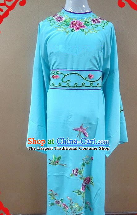 Professional Chinese Beijing Opera Niche Blue Embroidered Peony Robe Traditional Peking Opera Scholar Costume for Adults