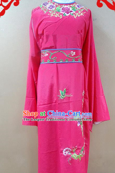 Professional Chinese Beijing Opera Niche Rosy Embroidered Peony Robe Traditional Peking Opera Scholar Costume for Adults