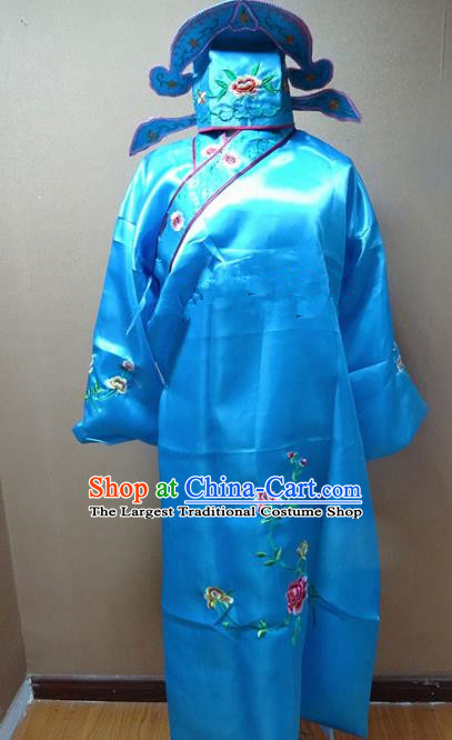 Professional Chinese Traditional Beijing Opera Niche Blue Robe Ancient Scholar Embroidered Peony Costume for Adults