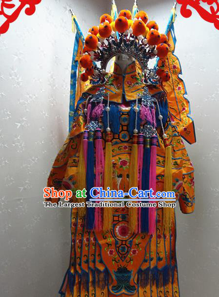 Chinese Traditional Beijing Opera Female General Yellow Embroidered Clothing Peking Opera Mu Guiying Costume for Adults