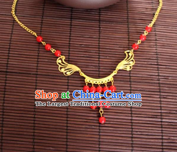 Chinese Traditional Wedding Hair Accessories Ancient Princess Red Beads Eyebrows Pendant for Women