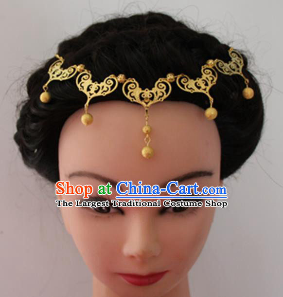 Chinese Traditional Wedding Hair Accessories Ancient Princess Golden Tassel Hair Clasp for Women