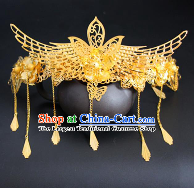 Chinese Traditional Wedding Hair Accessories Golden Phoenix Hair Comb Ancient Princess Hairpins for Women
