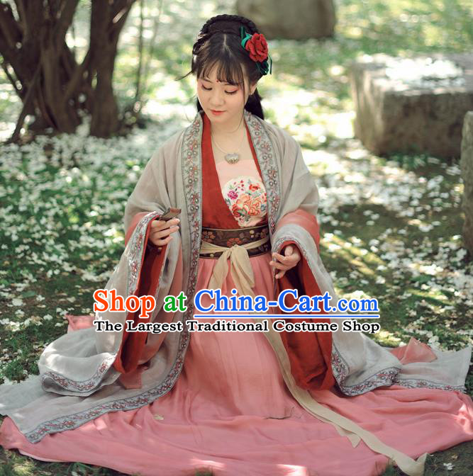 Chinese Ancient Palace Princess Hanfu Dress Tang Dynasty Historical Costumes Complete Set for Women