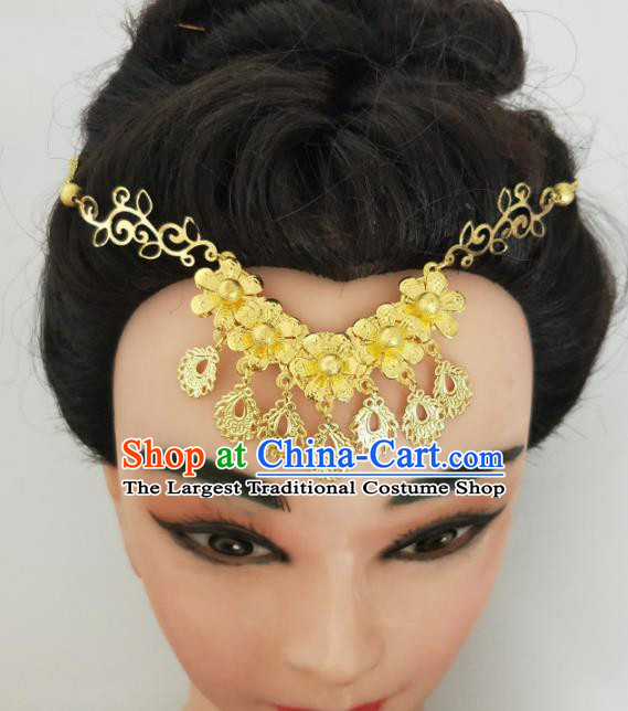 Chinese Traditional Hair Accessories Wedding Golden Flowers Eyebrows Pendant Ancient Princess Hairpins for Women