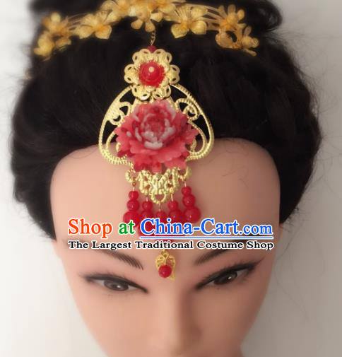 Chinese Traditional Hair Accessories Wedding Red Peony Tassel Eyebrows Pendant Ancient Princess Hairpins for Women
