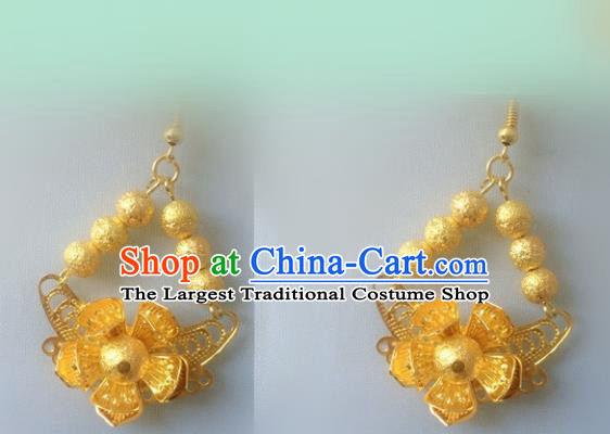 Chinese Traditional Accessories Wedding Golden Tassel Earrings for Women
