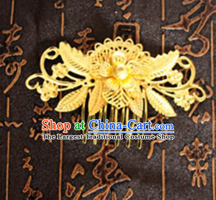 Chinese Traditional Hair Accessories Wedding Golden Hair Comb for Women