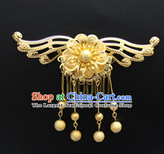 Chinese Traditional Hair Accessories Wedding Golden Butterfly Hair Comb for Women