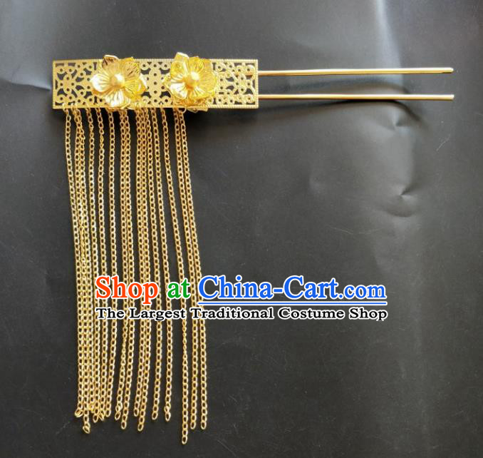 Chinese Traditional Hair Accessories Wedding Golden Tassel Hairpins for Women