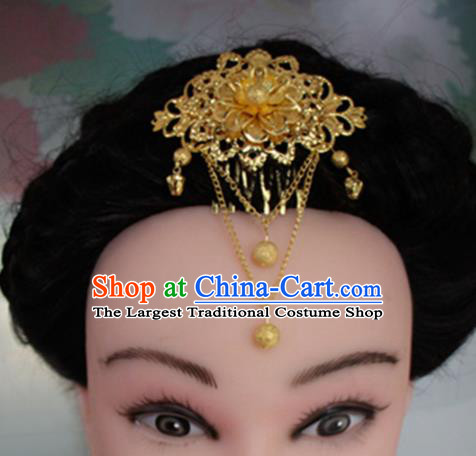 Chinese Traditional Hair Accessories Wedding Golden Tassel Hair Comb for Women