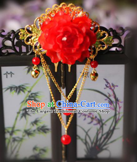 Chinese Traditional Hair Accessories Wedding Red Peony Tassel Hair Comb for Women