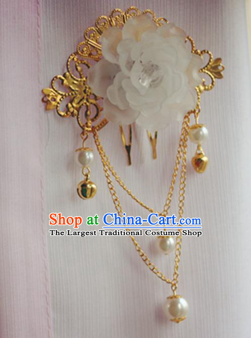 Chinese Traditional Hair Accessories Wedding White Peony Tassel Hair Comb for Women