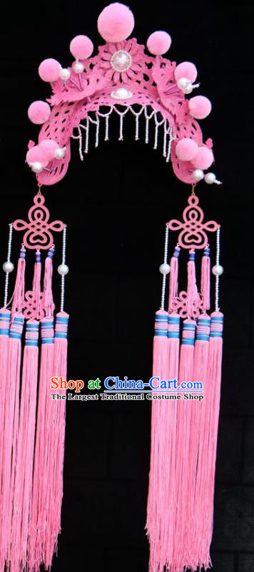 Chinese Traditional Beijing Opera Diva Hair Accessories Peking Opera Pink Tassel Phoenix Coronet