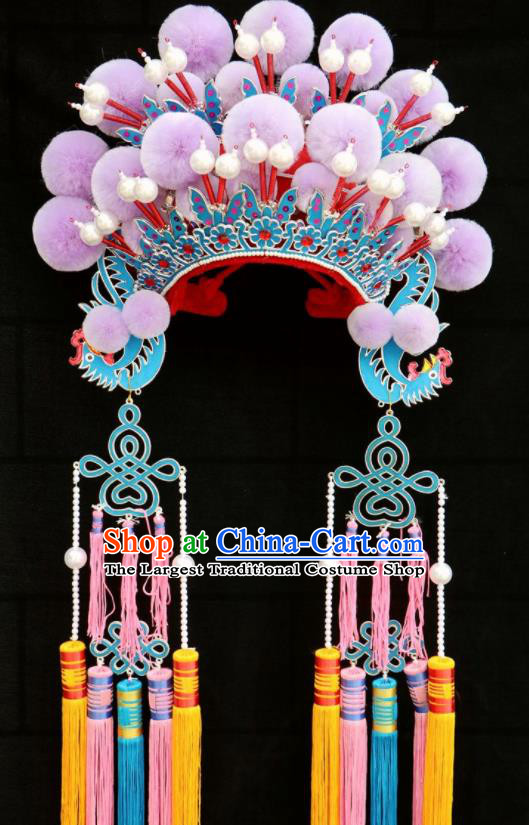 Chinese Traditional Beijing Opera Diva Hair Accessories Peking Opera Purple Venonat Phoenix Coronet