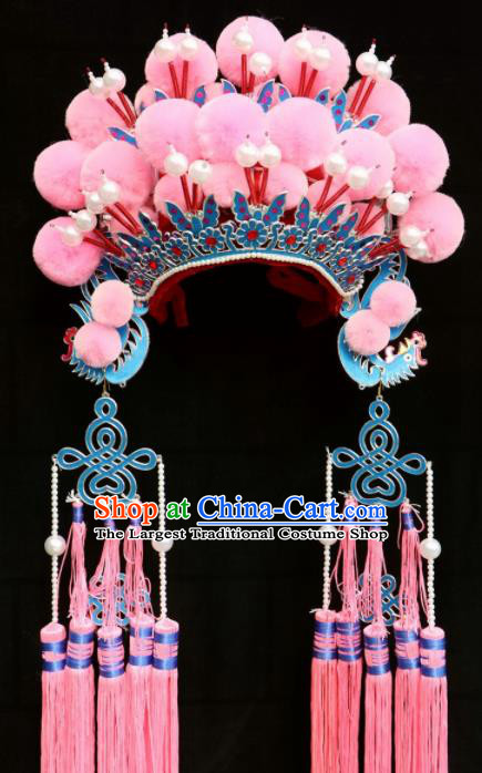 Chinese Traditional Beijing Opera Diva Hair Accessories Peking Opera Princess Pink Venonat Phoenix Coronet