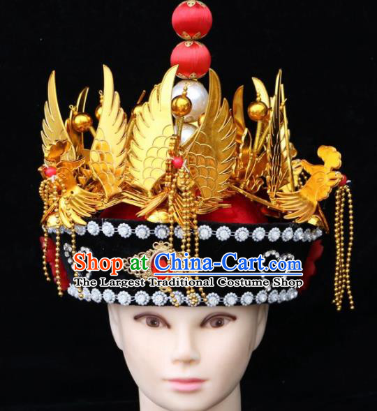 Chinese Traditional Beijing Opera Hair Accessories Ancient Qing Dynasty Imperial Consort Hat Phoenix Coronet