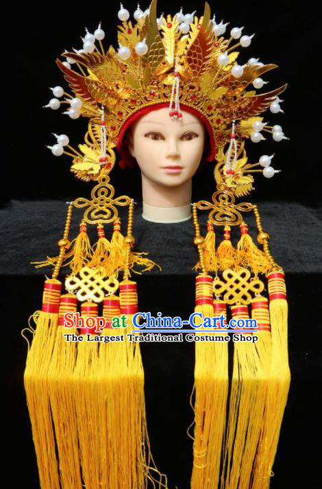 Chinese Traditional Beijing Opera Queen Hair Accessories Ancient Bride Golden Phoenix Coronet