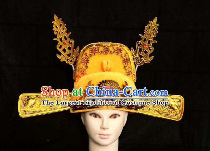 Chinese Traditional Beijing Opera Niche Headwear Peking Opera Bridegroom Golden Hat