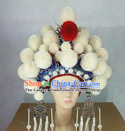 Chinese Traditional Beijing Opera Queen Hair Accessories Ancient Bride White Venonat Phoenix Coronet