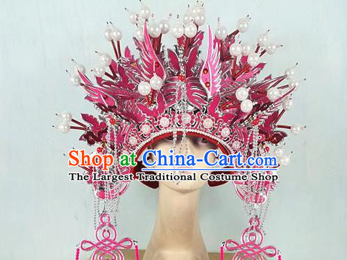Chinese Traditional Beijing Opera Imperial Consort Hair Accessories Ancient Bride Pink Phoenix Coronet Headwear