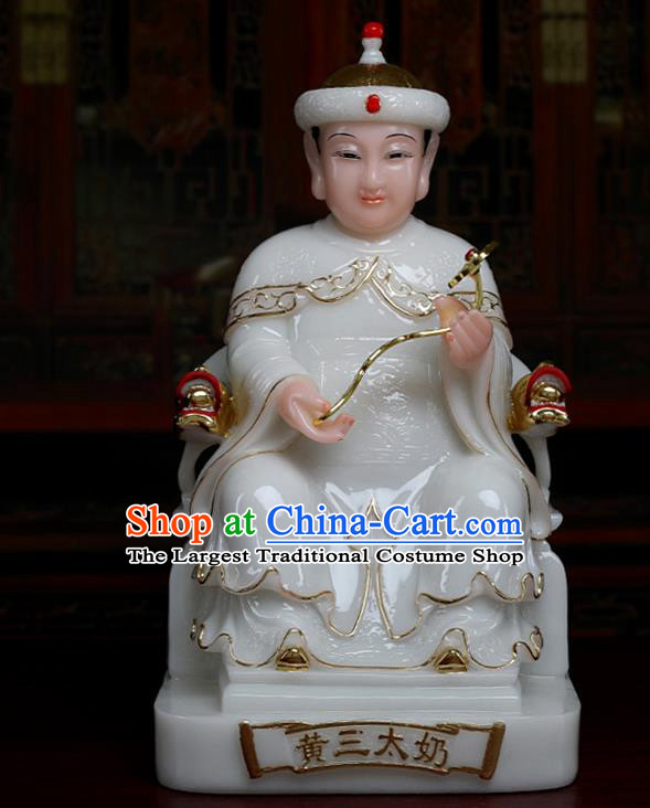 Chinese Traditional Religious Supplies Feng Shui White Goddess Statue Taoism Decoration