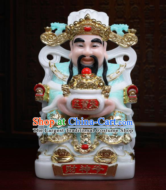 Chinese Traditional Religious Supplies Feng Shui Blue Clothing Taoism Fortune God Decoration