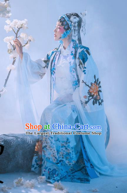 Chinese Ancient Drama Blue Hanfu Dress Traditional Beijing Opera Historical Costume and Headpiece Complete Set