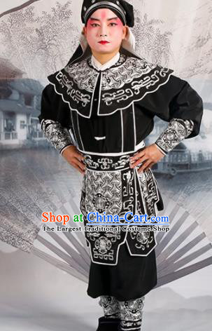 Chinese Traditional Beijing Opera Takefu Black Costume Ancient Swordsman Clothing