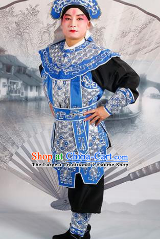 Chinese Traditional Beijing Opera Takefu Blue Costume Ancient Swordsman Clothing