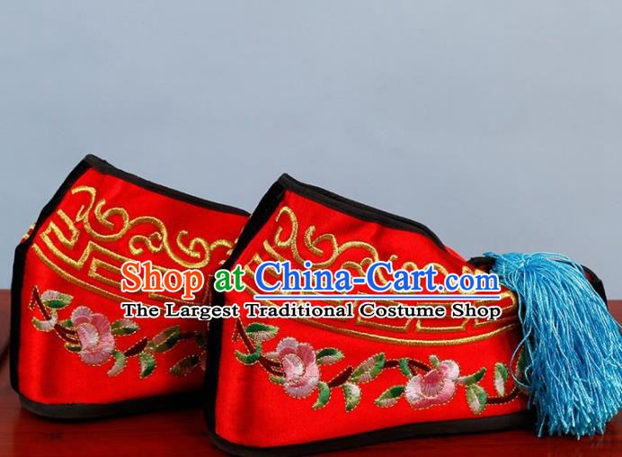 Chinese Traditional Beijing Opera Shoes Peking Opera Blues Red Embroidered Shoes