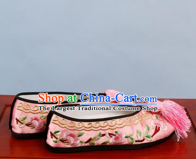 Chinese Traditional Beijing Opera Shoes Peking Opera Diva Pink Embroidered Shoes