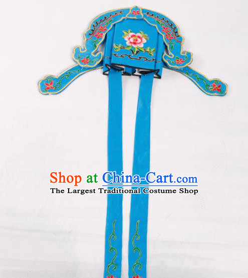 Chinese Traditional Beijing Opera Niche Headwear Peking Opera Scholar Embroidered Blue Hat