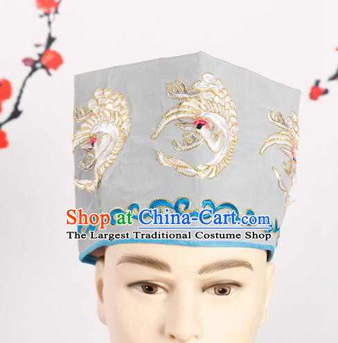 Chinese Traditional Beijing Opera Old Men Headwear Peking Opera Landlord Embroidered Crane Grey Hat